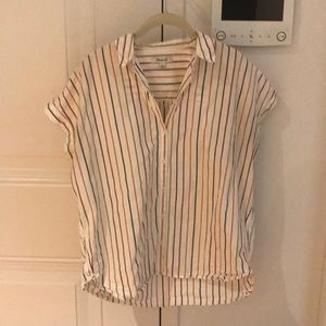 Madewell Striped Cotton Short Sleeved Button Down